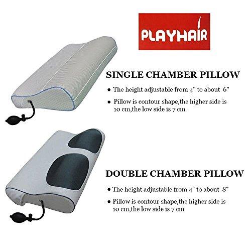 Inflable Bomba De Aire Ajustable de bambú almohada de memoria doble cámaras altura ajustable de 10.2cm a unos 8' tamaño...