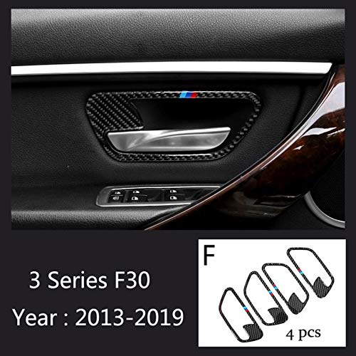 F Type Carbon Fiber Car Interior Door Handle Cover Trim Door Bowl Stickers Decoration for BMW 3 Series E90 F30 20052019 Accessories  (color Name  G Type)