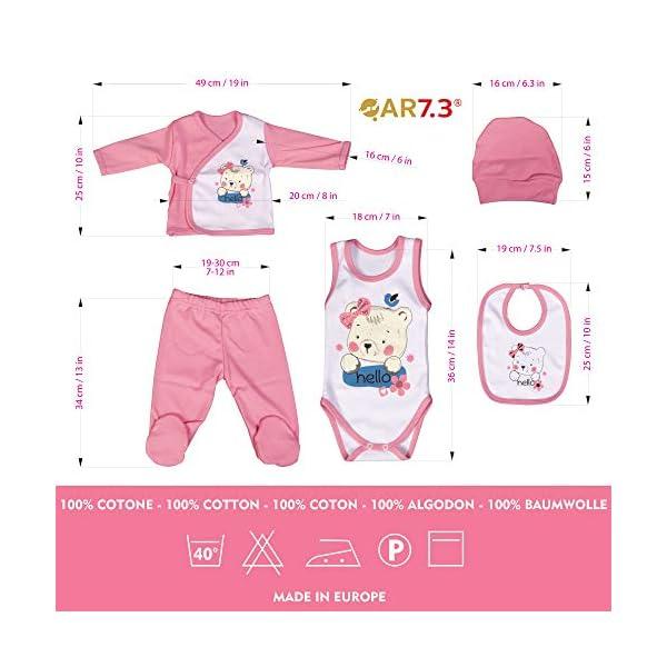 QAR7.3 Completo Vestiti Neonato 0-3 mesi - Set Regalo, Corredino da 5 Pezzi: Body, Pigiama, Bavaglino e Cuffietta (Rosa… 3