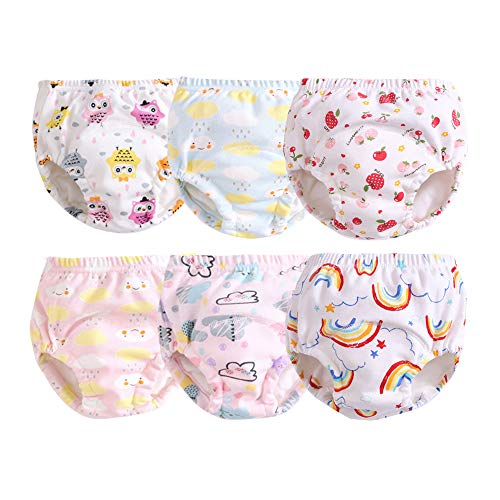 Orinery Cotton Reusable Toddler Baby Training Pants 6-Pack (2-3 Years Old, for Girls(Random Patterns))