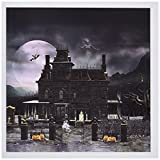 3dRose Set of 12 Greeting Cards, A Halloween Haunted House in The Night with Ghosts and Creatures (gc_181746_2)