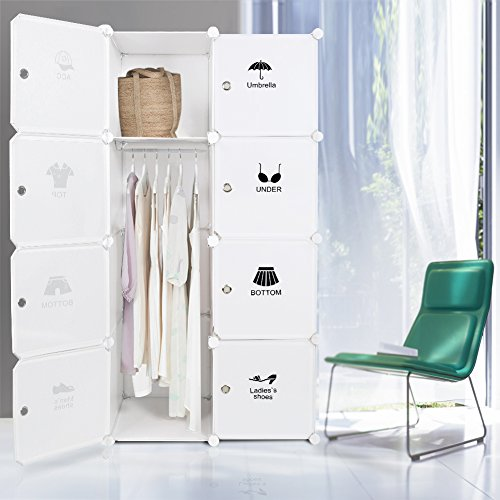 ROKOO-Portable-Clothes-Closet-Wardrobe-Bedroom-Armoire-Storage-Organizer-DIY-Modular-Cube-Shelving-System-with-Hanging-Rod-and-Doors-Larger-Space-Thicker-Board-Sturdy-Construction