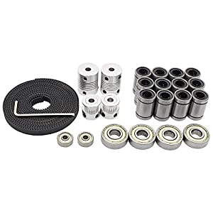 Redrex 3D Printer Movement Kits for Reprap Prusa i3 Motor Shaft Coupler + GT2 Timing Belt + 20T Timing Pulley + 608zz Bearing + LM8UU Linear Bearing + 624zz Bearing from Redrex