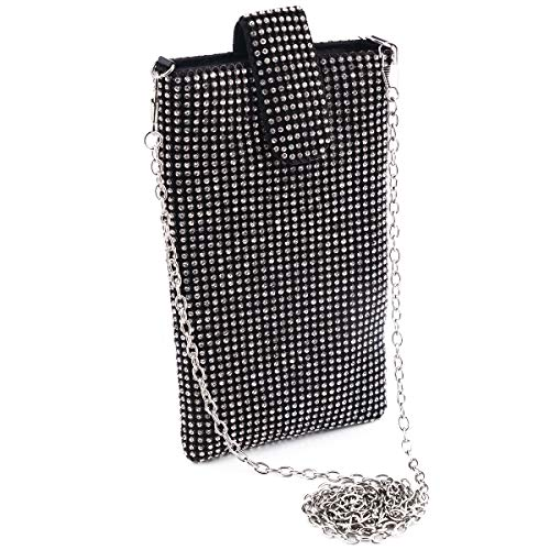 Black Evening Handbag Clutch Purse - Crystal Rhinestone Small Shoulder Bag Cell Phone Purse Wallet for Women Evening Handbags Clutch Purses in Black