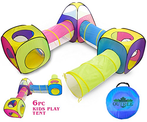 6pc Pop Up Children Play Tent w/ 3Crawl Tunnel & 3Tents - Kids Tents for Boys, Girls, Babies & Toddlers for Indoor & Outdoor