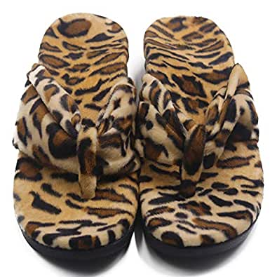ERGOfoot Orthotic Flip Flops Arch Support Sandals Flat Thong Slippers- Walking Comfort with Orthopedic Support, Men's 8 / Women's 9, Leopard
