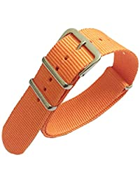 20mm Orange Nylon Watch Strap Polished Steel Buckle Replacement Fabric Band