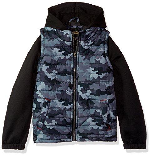 - iXtreme Boys' Big Camo Print Vest W/Fleece Hood&Sleeve, Grey, 14/16