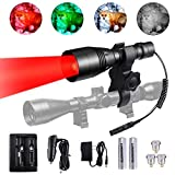 """A8Plus Cree Green Red White Osram Infrared 850nm IR Hunting Light Kit with 1"""" 30mm Scope Mount,Remote Switch,2600mAh Batteries,Home&Car Charger kit,Predator Hunting Flashlight for Coyote Hog Varmint"""