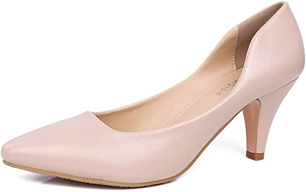 Robasiom Women's Low Heels Pumps Shoes for Women Heels and Pump Closed Pointed Toe Kitten Classic Dress Shoe Office Lady Wedding Slip-on