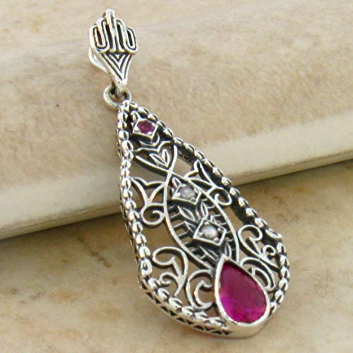 (LAB Ruby & Seed Pearl Antique Art Deco Design .925 Sterling Silver Pendant KN-1426)
