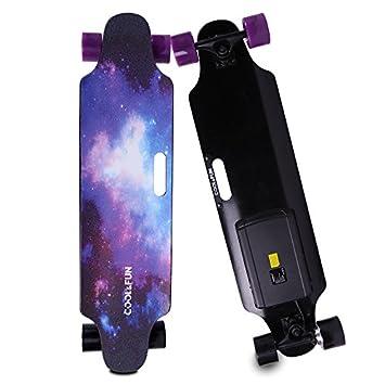 Cool/&Fun HB11 Skateboard El/éctrico de 4 Ruedas Monopat/ín con Control Remoto
