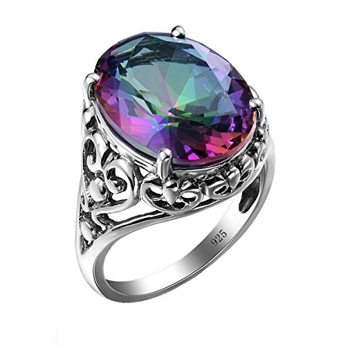 SzjinAo Vintage Antique Design Ring Round Mystic Fire Rainbow Topaz Stone for Women's men 's Rings (SIZE 10) ()