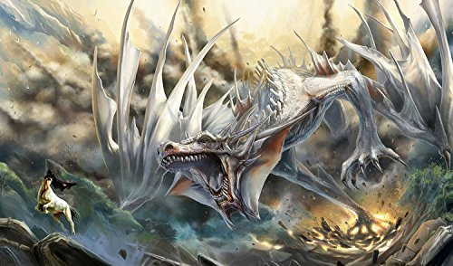 MTG White Dragon Playmat + Free RFG Sleeves 75 Count Small