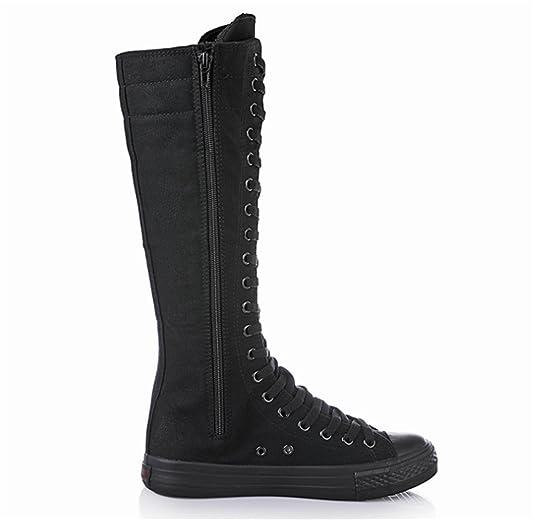 Damen Canvas Stiefel langschaft Leinenschuhe Reißverschluss (Schwarz,43)   Amazon.de  Schuhe   Handtaschen 971366f97a