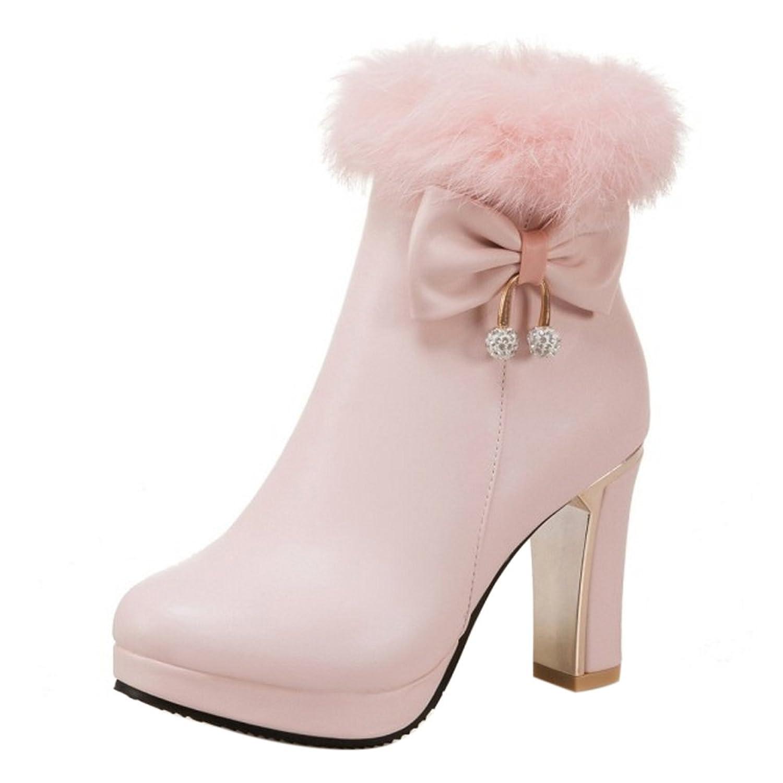 RizaBina レディース ショートブーツ ボア付け ハイヒール ブーツ 小さいサイズ 大きいサイズ (44 EU,Pink)