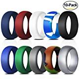 Silicone Wedding Ring for Men, 10 Pack Affordable Silicone Rubber Wedding Bands Durable Comfortable Antibacterial Rings, Black White Blue Silver Gray, Made by Fynix