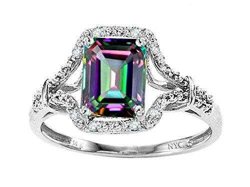 Star K Emerald Cut 8x6mm Rainbow Mystic Topaz Ring 14kt Size 8.5 by Star K
