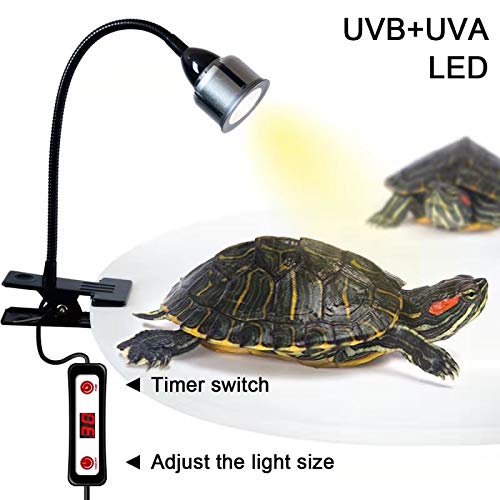 LHLYCLX UVB Reptile Heat Light, Timing LED UVA+UVB Heat Lamp with Flexible Clamp for Reptiles Amphibian Lizard Turtle Snake Tortoises Bearded Dragons Chameleon Lizard(Lamp Bulb Include) (Silver) by LHLYCLX
