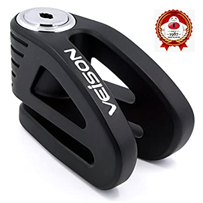 Acekit Veison Bicycle And Motorcycle Brake Disc Lock Heavy Duty Strengthen Body Sawing Resistant With Four Ribs 6mm Harden Lock Pin With Remind Cable-Black: Automotive
