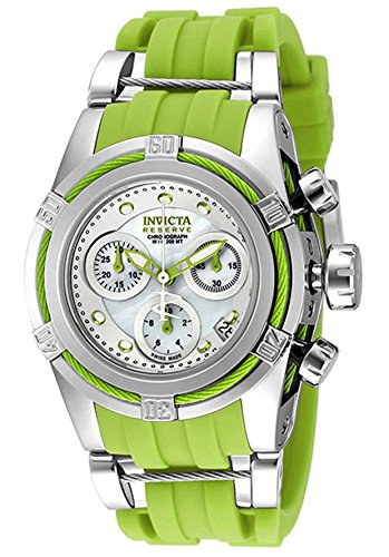 Invicta Women's 'Bolt' Swiss Quartz Stainless Steel and Silicone Casual Watch, Color:Green (Model: 18680)