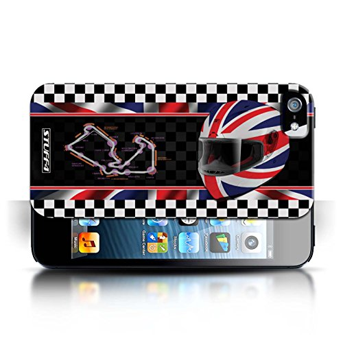 Etui / Coque pour Apple iPhone 5/5S / UK/Silverstone conception / Collection de F1 Piste Drapeau