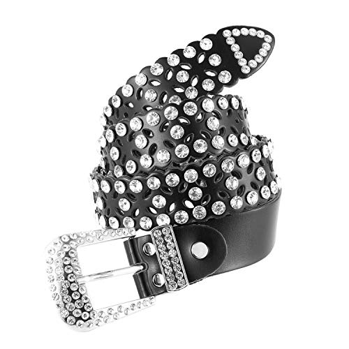 Womens Fashion Studded Western Crystal Berry Rhinestone Bling Cowgirl Leather Belt (White) (Black) (Western Rhinestone Black Belt)