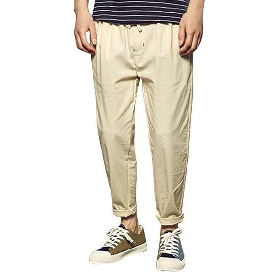 Hombre Casual Transpirable Pantalones Color Sólido Sueltos Harem Pantalones Tallas Grandes xrR4IucYDc