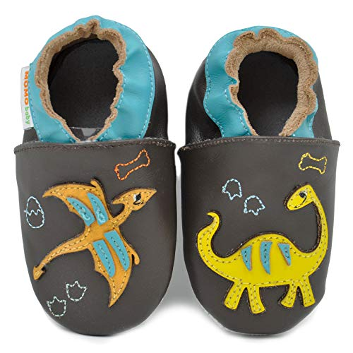 Momo Baby Boys Soft Sole Leather Shoes - Dinos and Fossils (6-12 Months) Brown