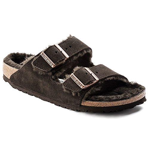 Suede Mocha Footwear (Birkenstock Women's Arizona Shearling Sandal Mocha-Mocha Suede Size 38 N EU)