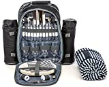 Picnic Backpack for 4 by Mister Alfresco, Stylish Black Color With Insulated Cooler Compartment 2 Detachable Bottle/Wine Holders Fleece Blanket Flatware and Plates. Light-weight, Versatile Review