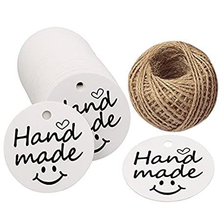 Handmade Gift Tags,100 PCS Round Handmade Kraft Hang Tags,White Funny Kraft Paper Gift Labels with 100 Feet Jute Twine