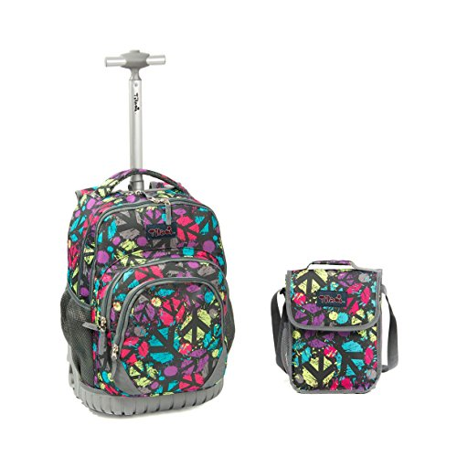 Tilami New Antifouling Design 18 Inch Wheeled Rolling Backpack Luggage and Lunch Bag (Pink Pilot series 3) - Pilot Trolley