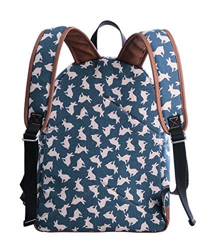 Douguyan Mochila mujer, Bolso escolar,Mochilas escolares,Mochilas Tipo Casual,Lona y PU cuero - E00133 Negro Azul conejo