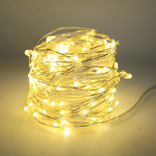 Lezoey Battery Fairy Lights 33Fft 100leds 8 Modes Waterproof Battery Powered Led Starry String Lights With Remote Control Indoor and Outdoor Xmas Party Home Decoration (Warm White) by Le Zoey (Image #1)