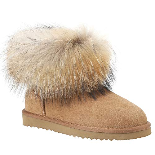 Veilante Mini Waterproof Snow Boots-Women's Classic Totes Ankle Length Cute Calf Leather and Natural Racoon Fur Mini Anti-Slip EVA Sole Winter Shoes for Women Chestnut Cold Weather Insulated