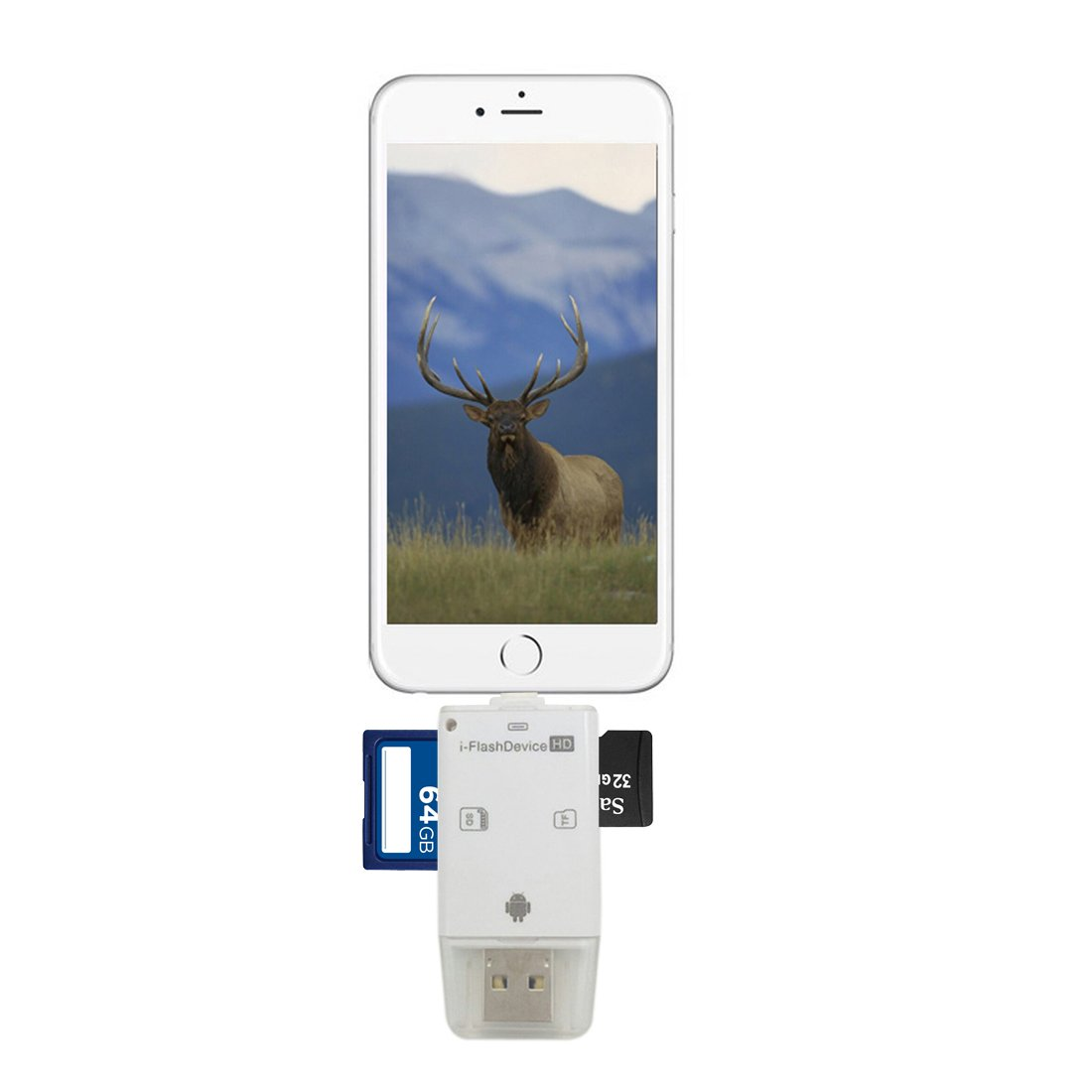TSEAH Trail and Game Camera Viewer for Apple iPhone, iPad, iPod | Lightning connector with Extender | Reads SD, SDHC and Micro SD Cards (White) by TSEAH (Image #1)