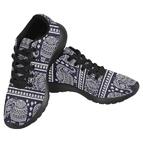 InterestPrint Womens Jogging Running Sneaker Lightweight Go Easy Walking Casual Comfort Running Shoes Indian Aztec Elephant Tribal Blue Multi 1 3XXpdV4