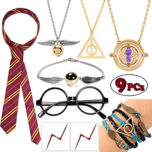 9 PCS Striped Tie Novelty Glasses Frame Necklace Set Time Turner Deathly Hallows Golden Snitch for Harry Potter's Fans Gifts Collection Magical Cosplay Costumes Accessories Jewelry Gift