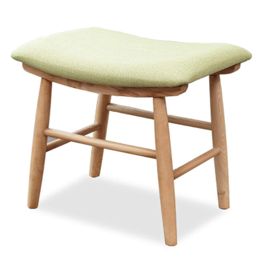 GREEN ZENGAI Dressing Stool Footstool Rubber Wooden Leg Padded Stool Concave Surface Modern (color   Green)