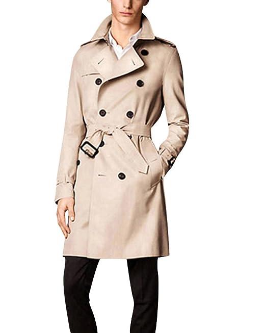 wholesale dealer 2c2cf 5cde0 DianShao Doppiopetto Slim Fit Windbreaker Giacca Lunga Trench Uomo con  Cintura Cappotto Outwear