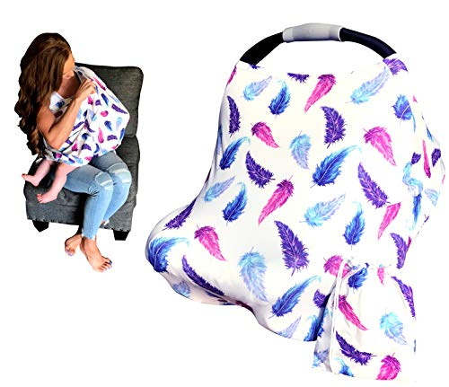 Nursing Cover, Car Seat Canopy for Babies, Multi-Use Breastfeeding Scarf - High Chair, Stroller, Shopping Cart Cover for Boys or Girls, Soft Stretchy, Shower Gifts, Step 1 Kids (Pink, Blue Feathers)