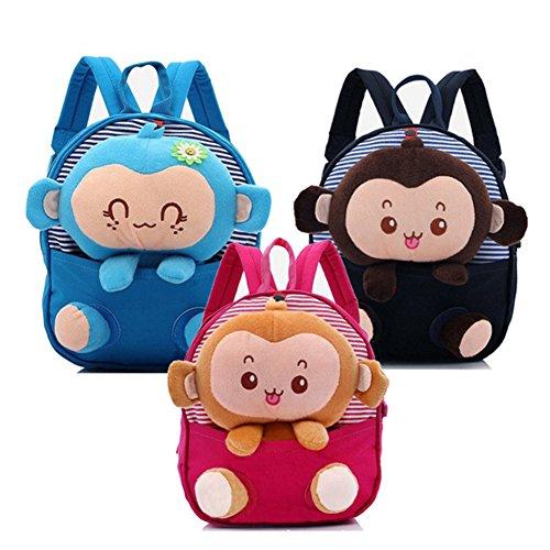 Fellibay Kinder Vorschule Rucksack Baby Jungen Mädchen Rucksacke Kindergarten Mittagessen Taschen Kleinkind Rucksack mit Niedlich Stuff Affe dunkelblau FzyOnwH