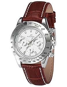 KS KS163–Reloj de pulsera de hombre, correa de piel color marrón
