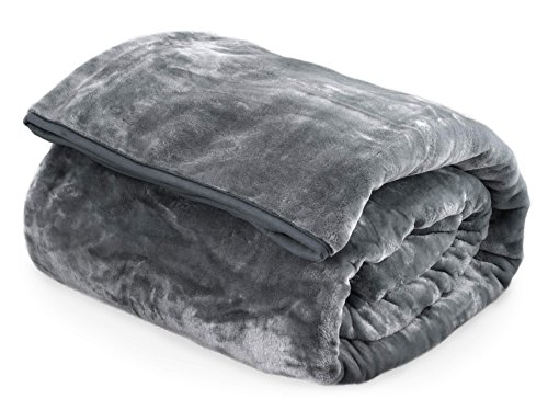 Archangel Ultra Silky Soft Heavy Duty Quality Korean Mink Reversible Cloud Blanket Solid Ash Charcoal Queen 83