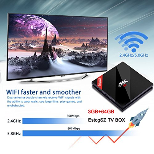 [Powerful 3GB / 64 GB] Android 7 1 TV BOX with Wireless Backlit Keyboard,  EstgoSZ Smart Google TV Box 3G/64G Amlogic S912 Octa Core 64 bits with Dual