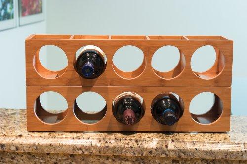 Lipper International 8305 Bamboo Wood Stackable 5-Bottle Wine Rack, 20-3/4'' x 5-3/8'' x 4-3/4'' by Lipper International (Image #2)