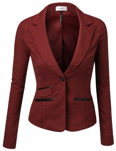 J.TOMSON Womens Fitted Boyfriend Blazer With Trim Detail