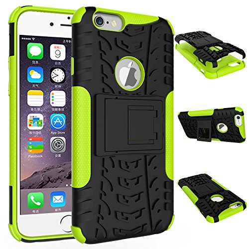 (iPhone 6 Case, iPhone 6s Case, Folice [Heavy Duty] [Shockproof] Hybrid Rugged Soft Rubber Hard PC Tough Dual Layer Protective Case Cover with Kickstand for Apple iPhone 6 / 6s 4.7 inch (Green))