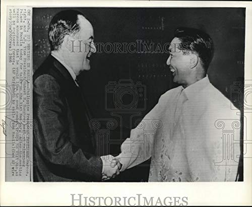 Historic Images - 1966 Vintage Press Photo Philippine President Ferdinand Marcos, Vice President Humphrey